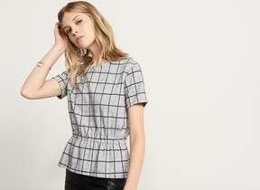 Dynamite Checkered Peplum Top