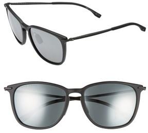 BOSS Men's 56Mm Sunglasses - Matte Black/ Black Mirror