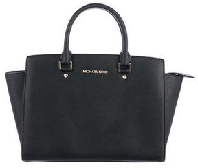 MICHAEL Michael Kors Selma Leather Tote - BLACK - STYLE