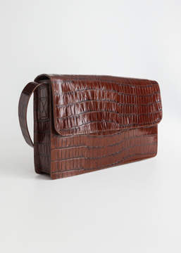 And other stories Crocodile Embossed Leather Satchel