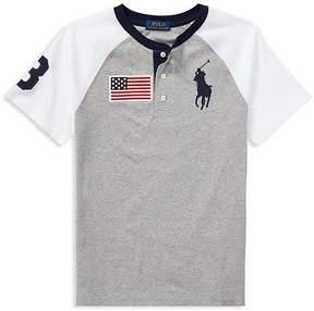 Polo Ralph Lauren Boys' Cotton Jersey Big Pony Henley Tee - Big Kid