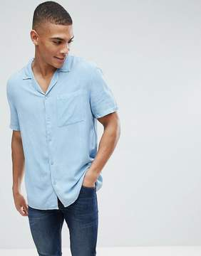 New Look Regular Fit Shirt With Revere Collar In Light Denim Wash