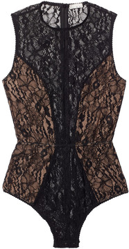 Fleur Du Mal Chat Noir Lace Bodysuit in Black - 0110, Large