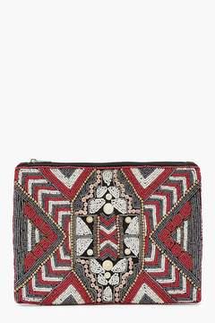boohoo Aztec Embellished Clutch