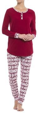 Isaac Mizrahi HO HO HO Henley Pajamas - Long Sleeve (For Woman)