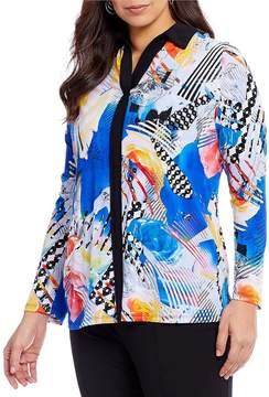 Allison Daley Plus Long Sleeve Contrast Trim Print Blouse