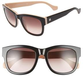 Balenciaga Women's 54Mm Retro Sunglasses - Shiny Black/ Nude/ Brown