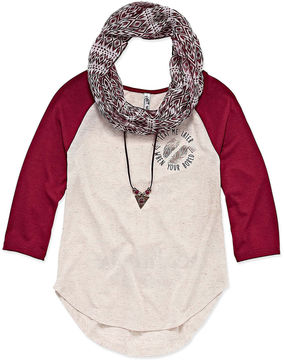 Knitworks Knit Works Long Sleeve Baseball Graphic T-Shirt with Necklace and Scarf- Girls' 7-16