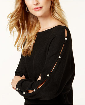 Charter Club Cashmere Embellished Split-Sleeve Sweater, Created for Macy's