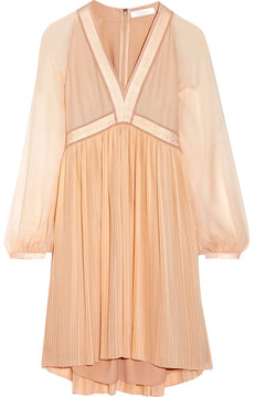 Chloé Plissé Silk-georgette Mini Dress - Blush