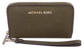 Michael Kors Crosshatch Leather Zip-Around Wallet - GREEN - STYLE
