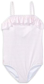 Polo Ralph Lauren Girls' Ruffled Gingham-Print Swimsuit - Big Kid