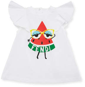Fendi Watermelon Logo A-Line Dress, Size 12-24 Months