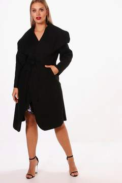 boohoo Plus Lydia Wool Look Wrap Coat