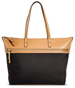 Merona Women's Color Block Nylon Work Tote with Faux Leather Trim Black
