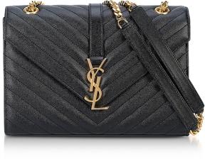 Saint Laurent Medium Black Grainy Leather Envelope Monogram Shoulder Bag - ONE COLOR - STYLE