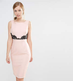 Elise Ryan V Back Pencil Dress With Lace Trim