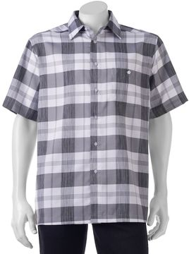 Haggar Men's Classic-Fit Microfiber Easy-Care Button-Down Shirt