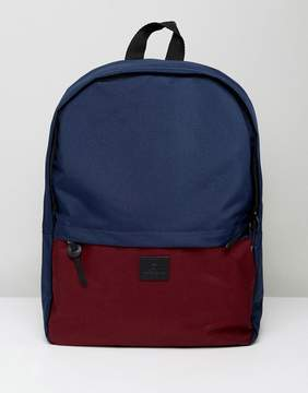 Asos Backpack In Burgundy And Navy