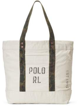 Polo Ralph Lauren Faded-Text Canvas Tote Bag