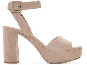 Miu Miu Beige Suede Platform Sandals