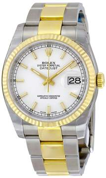 Rolex Oyster Perpetual Datejust 36 White Dial Stainless Steel and 18K Yellow Gold Bracelet Automatic Men's Watch