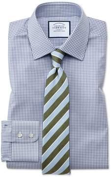 Charles Tyrwhitt Extra Slim Fit Small Gingham Grey Cotton Dress Shirt Single Cuff Size 14.5/32