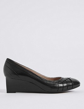 Marks and Spencer Leather Wedge Heel Pleated Pumps