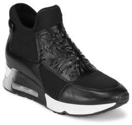 Ash Lazer Leather High-Top Slip-On Sneakers