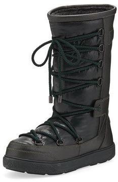 Moncler Laetitia Leather Lace-Up Boot, Black