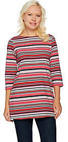 Denim & Co. Striped 3/4 Sleeve Boat Neck Tunicw/ Side Slits