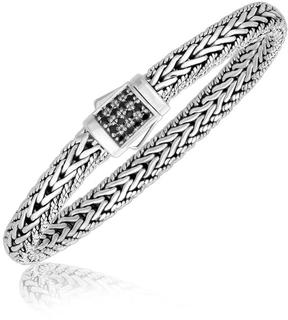 Ice Sterling Silver Braided Style Men's Bracelet with Black Sapphire Accents