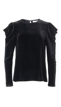 Tibi Silk Velvet Drape Sleeve Top