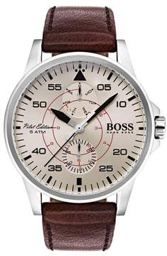 BOSS Men's Hugo Aviator Multifunction Leather Strap Watch, 44Mm