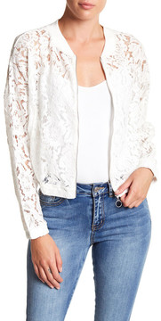 Noisy May Katy Long Sleeve Lace Bomber Jacket