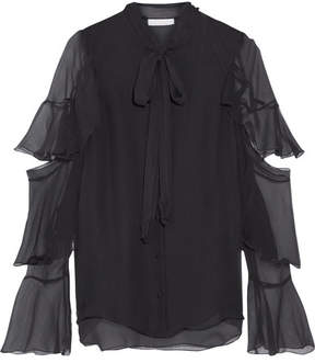 Chloé Pussy-bow Ruffled Silk-mousseline Blouse - Black