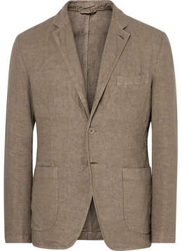 Aspesi Beige Slim-Fit Unstructured Linen Blazer