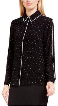 Vince Camuto Womens Pin-Dot Button Down Blouse Black S