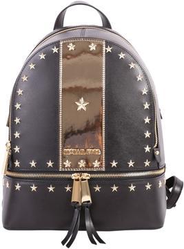 MICHAEL Michael Kors Rhea Leather Backpack - BLACK - GOLD - STYLE