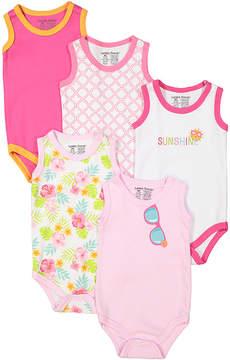 Luvable Friends Pink & Yellow Sleeveless Bodysuit Set