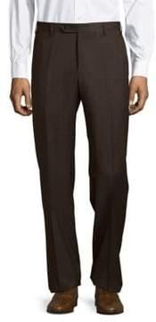 Zanella Flat-Front Wool Check Pants