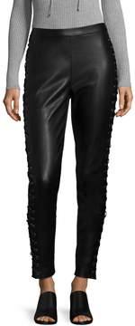 Bagatelle Women's Lace-Up Faux Leather Leggings