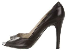 Marc Jacobs Leather Peep-Toe Pumps