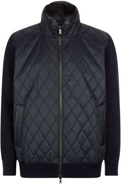 Paul & Shark Quilted Jacket With Knit Sleeves