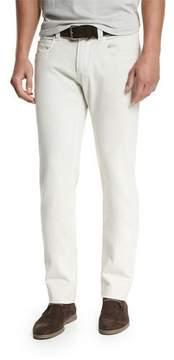 Loro Piana Five-Pocket Slim-Fit Pants, Dusty White