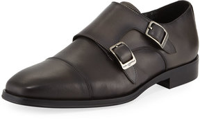 Karl Lagerfeld Double Monk Leather Loafer, Dark Gray