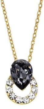 Black Diamond Collection Bijoux 14K Gold Plated Circle Stud Necklace w/ Crystals & Swarovski Stone