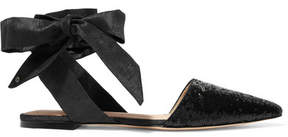 Sam Edelman Brandie Sequined Canvas Point-toe Flats - Black