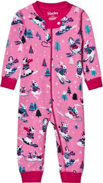 Hatley Pink Ski Bunnies Footless Babygrow