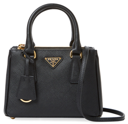 Galleria Double Zip Micro Saffiano Leather Tote